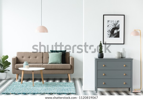 Brown Sofa Green Cushions Standing White Stock Photo Edit Now