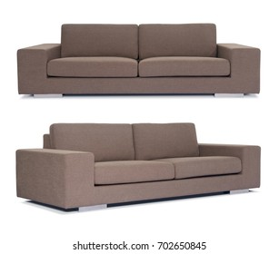 Brown Sofa isolated with different angles in white background