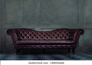 Brown sofa in the room.Vintage brown sofa set in the room.