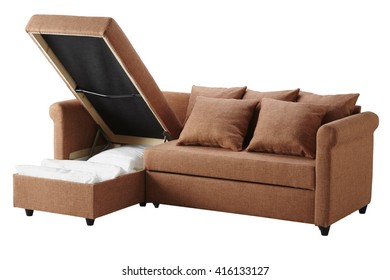 Brown sofa with storage isolated on white include clipping path