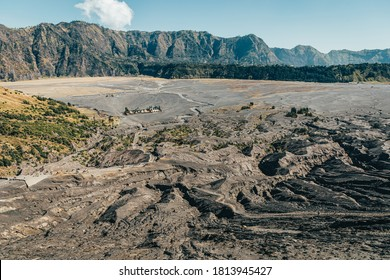 brown solidified wash in a volcanic landscape