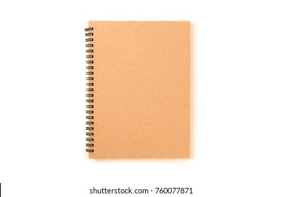 Brown spiral paper notebook front cover isolated on white background.