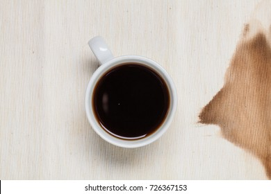 Brown spot on textile napkin after coffee  or tea