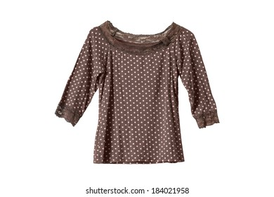 Brown spotted blouse decorated with lace on white background