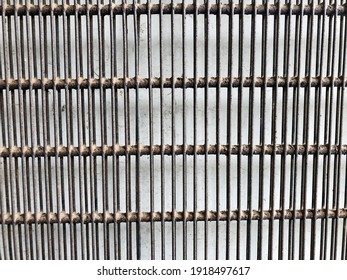Brown square iron cage isolated on white background.