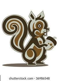 Brown Squirrel Holding Acorn