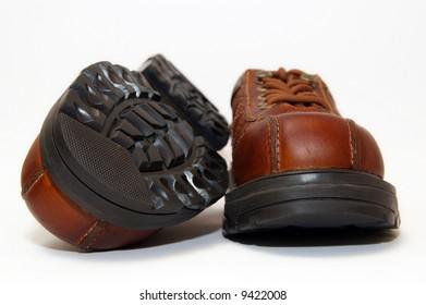 brown steel-toe boots
