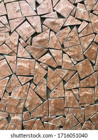 Brown stone mosaic wall for decorative ornament background