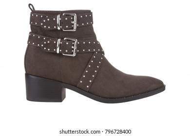 Brown studded ankle boots, isolated on white