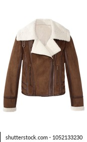 brown suede jacket with shearling collar