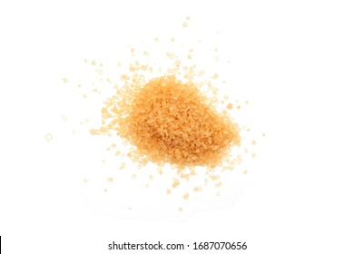 brown sugar isolated on white background , top view , flat lay.