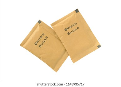 brown sugar packets isolated on white background included clipping path, top view