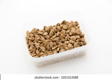 brown sugar in rectangular plastic container