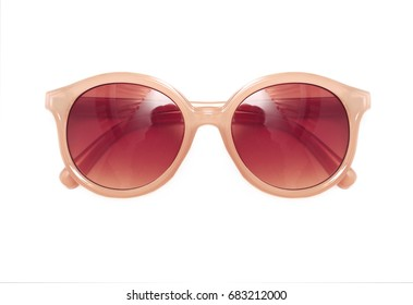 Brown sunglasses isolated on a white background closeup