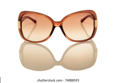 brown sunglasses isolated on a white background