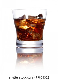 Brown sweet Coke Drink with ice cubes isolated on white background