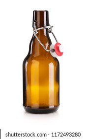 Brown swing top beer bottle isolated on completely white background