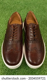 A brown tan pair of wingtip sneaker on isolated background green grass. These brogue shoe are formal but casual style for men.
