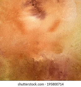 Brown, Tan, Rust Colored Watercolor Texture.  Watercolor painting abstract with wet in wet technique