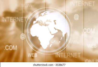 brown technology background with communication related words
