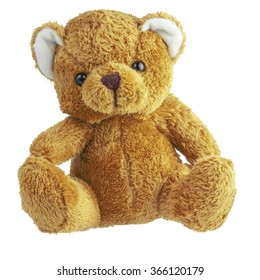 brown teddy bear isolated on white background with clipping paths, selection paths
