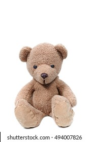Brown teddy bear sit on white background.