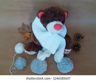 Amigurumi Girl Boy Hand Knit Crochet Toy Bunny Stuffed Animal White Purple Scarf