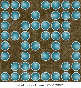 Brown texture with randomly scattered blue circular ornaments