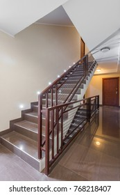 Brown tiled staircases in luxury home apartment