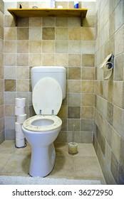 Brown toilet interior
