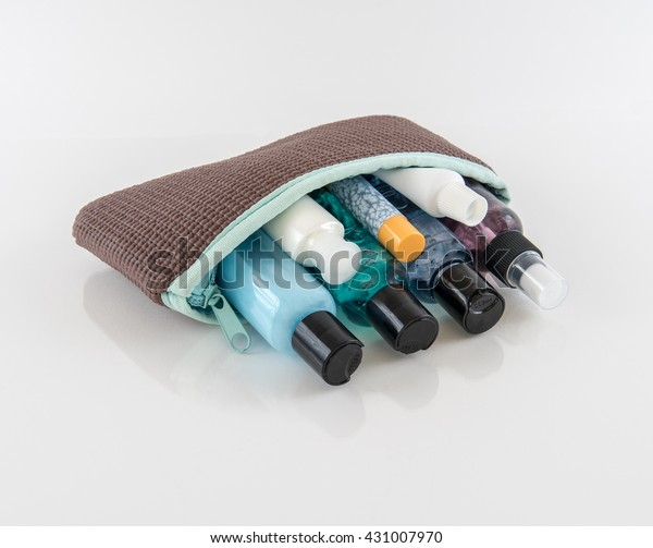 Brown Toiletry Bag with Travel Toiletries