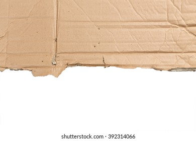 Brown torn cardboard isolate on a white background