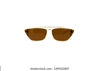 Brown Trapezoidal Flat Top Aviator  Sunglasses, Front View
