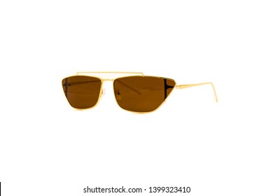 Brown Trapezoidal Flat Top Aviator Sunglasses, Side View