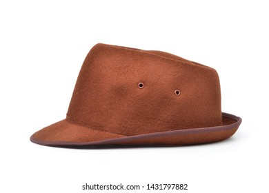 Brown trilby felt hat isolated on white background with clipping path.