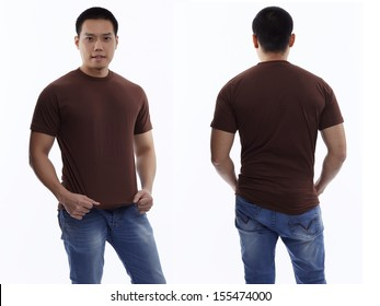 Brown t-shirt on a young man isolated, front and back-Studio Shot
