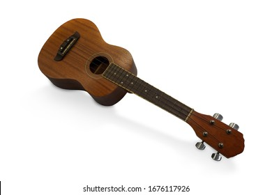 The brown ukulele guitar isolated on the white background