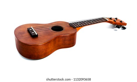 The brown ukulele on the white background, with Clipping path