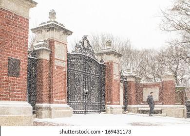 Brown University gate Ivy League College Campus winter snow scene