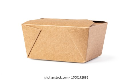 brown unlabeled paper food box isolated on white background - Shutterstock ID 1700192893