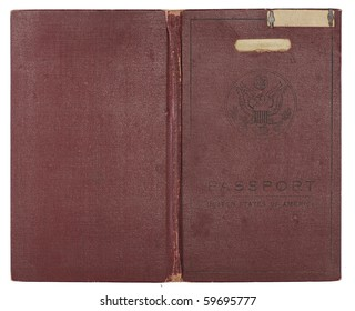 A brown U.S. Passport from the 1920s open to show back and front cover. Isolated on white with clipping path.