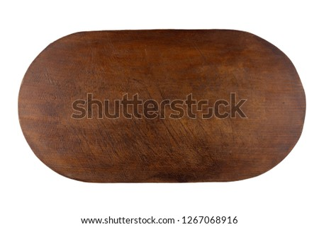 Brown used wood kitchen cutting board with stains  isolated on white background.