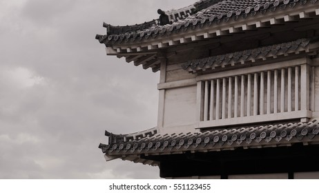 The brown vintage color tone of the historic white house of Japanese Himeiji Castle, ancient antique and unique style of gray stone tiles and gable roof with wooden battens windows of the building