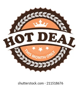 Brown Vintage Hot Deal This Month Only Icon, Badge, Sticker or Label Isolated on White Background