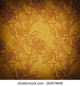 brown vintage paper card with Flowers in victorian style, paper background for your message