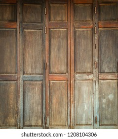 Brown vintage wooden door or window old ancient traditional of home asia