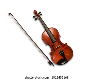 Brown violin isolated under the white background.