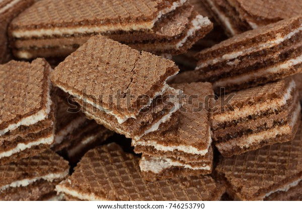 Brown wafer closeup isolated on black background