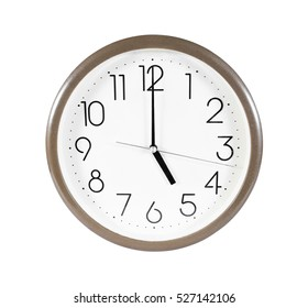 Brown wall clock isolated on white background.Wall clock at five o'clock isolated.Wall clock isolated