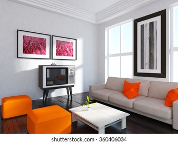 brown wall with white sofa. 3d concept